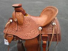 15 16 ROPING WADE WESTERN PLEASURE HARD SEAT BASKET WEAVE LEATHER HORSE SADDLE