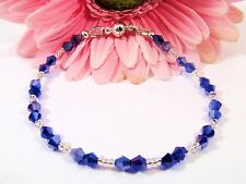 Bracelet Adorned With Blue Swarovski Crystals and Black Czech Glass Seed Beads