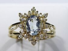 Estate 14kt y.gold ring with 6x8mm Aquamarine, Diamond, t.w 3.10 gram, size 8