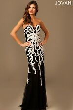 Jovani Sexy Black / White Strapless Lace Prom Evening Party Dress Sz 6 NWT