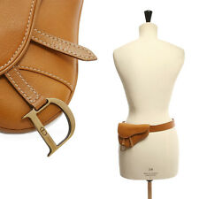 iconic CHRISTIAN DIOR tan brown leather mini saddle fanny pack waist belt bag