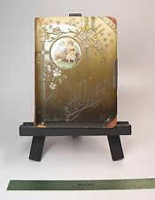 """9"""" Antique Photo Album 16 Photos Cabinet Cards Misc Sizes 2 Tin Types """"As Is"""""""