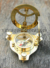 Nautical Brass Sundial Compass Handmade Maritime West London Pocket Compass 3""