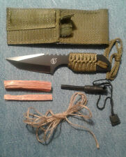 "McCoy's 7"" Hunting Knife Fire Kit with Firesteel and Fatwood Tinder"