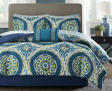King Size Teal Blue Green Medallion 9-Pc Bed in Bag w Sheets Comforter Bed Set