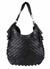 YVES SAINT LAURENT YSL ST TROPEZ FISH SCALE BLACK LEATHER SHOULDER PURSE BAG