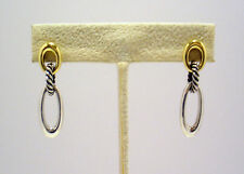 DAVID YURMAN 18K YELLOW GOLD & 925 STERLING SILVER ELLIPSE EARRINGS