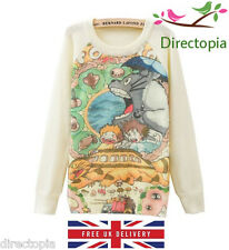 Studio Ghibli My Neighbour Totoro Cute Long Sleeve Knit Jumper Sweater Size 8