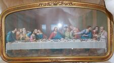 Vintage Barbola Framed Print of Jesus at The Last Supper