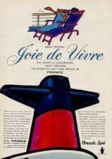"""1964 French Line Cruise Ship Boat S.S. France """"Quel Repos!"""" PRINT AD"""