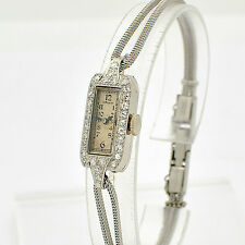 RARE Vintage Gruen Platinum Diamond Ladies Watch Hand-Writing Movement WL1820