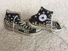 Converse Custom Black Studded Grungy All Stars Hi Top 9 Chuck Taylor