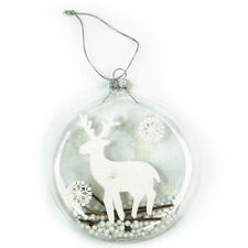 Beautiful White Reindeer Glass Bauble Christmas Tree Decoration Ornament 128243