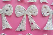 """99! Silver White Sequins Padded Bows - Lovely Bow Embellishments - 40mm/1.5"""""""