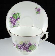 """COLCLOUGH ENGLAND PURPLE VIOLETS & GREEN LEAVES 2 1/2"""" CUP AND SAUCER SET"""