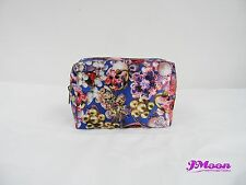 Blue Satin Jewellery Printing Small Cosmetic Makeup Zip Pouch Bag JMoon