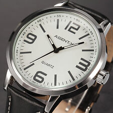 AgentX Elegance Mens Leather Band Stainless Steel Quartz Sport Wrist Watch+Box