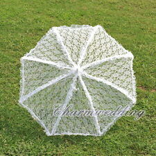 Elegant Handmade Vintage Lace Parasol Wedding Bridal Sun Umbrella w/ Floral Edge