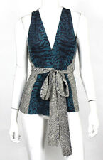 GUCCI Teal & Black Polka Dot Print Silk Belted Sleeveless Top 42