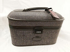 Vintage BlueTweed Retro Train Case Luggage Cosmetic Makeup Bag Suitcase