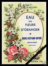 Vintage French Perfume Soap Label: Eau De Fleurs D' Oranger Grasse France