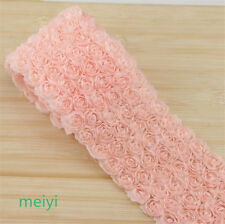 1 Yard 6 Row 3D Chiffon Rose Flower Lace Trim Gift DIY Sewing Craft Fabric Decor