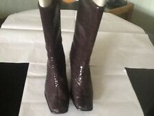 Vera Gomma Ladies Brown Leather/Suede 3/4 Length Boot Size UK 5