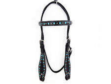 TURQUOISE BLACK BLING WESTERN LEATHER SHOW COWGIRL BRIDLE HEADSTALL HORSE TACK