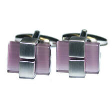 Silver With Purple Opaque Stone Formal Cufflinks & Gift Pouch Stylish Present