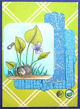 Spring Violet Nap HOUSE MOUSE Wood Mounted Rubber Stamp STAMPENDOUS, NEW - HMV28