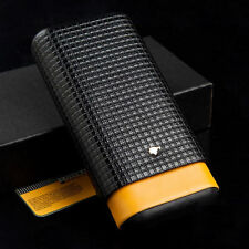 Cohiba Yellow Black Leather Cedar 3 Ct Tube Cigar Case Holder Travel Humidor