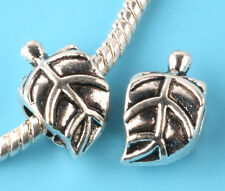 new 2pcs Tibetan silver Leaves Spacer beads fit European Bracelet Chain #L190