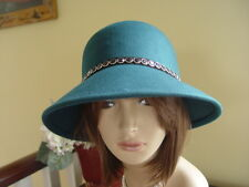 SCALA TEAL WOOL FELT WINTER HAT WITH BLACK  & SILVER BEADS DETAIL