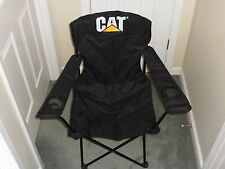 Black Caterpillar Portable folding Camping Chair Double Cup Holder w/ Bag NEW