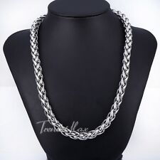 10mm 22 inch Silver Tone Braided Wheat Mens Boys Stainless Steel Chain Necklace