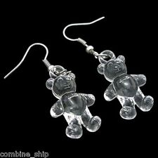 Pair Cute Crystal Transparent Clear Teddy Bear Acrylic Earrings 3cm