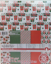 Retro Christmas Cardstock Scrapbook Paper 8.5x11 Recollections 25 Sheets