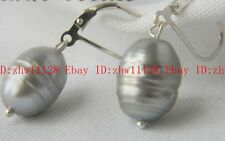 Huge 12x14mm Gray Baroque Freshwater Pearl Dangle Earring