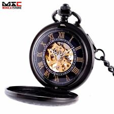 Black Steampunk Skeleton Mechanical Vintage Pocket Watch Mens Pendant Gift Retro