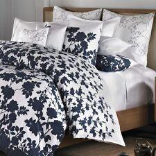 Barbara Barry NAVY BLUE Floral 3p QUEEN DUVET COVER SHAMS SET Kimono Dots COTTON