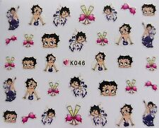 3D Glitter Nail Art Sticker White Pink Purple *BettY BooP* Decal Decoration 046