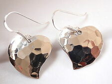 Heart Hammered Pattern Earrings 925 Sterling Silver Dangle Corona Sun Jewelry