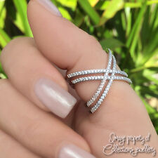 CRISS CROSS RING X Double 925 Solid Sterling Silver Sparkling Stones Size 9