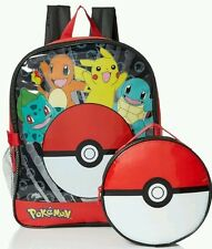 Pokemon Backpack Large Full Size & Detachable Lunch Box Bag School Pikachu NWT