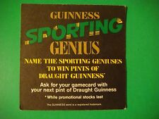 Beer Mat Coaster    Guinness    Name The Sporting Genius    Win Pints    Ireland