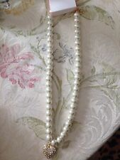 Women's Charlotte Russe Heart Rhinestone Pearl Fashion Trendy Necklace