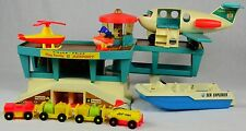 VINTAGE FISHER PRICE PLAY FAMILY AIRPORT + SEA EXPLORER BOAT