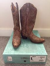 Women's Corral Boots Cowgirl Tan Brown Bling Studs Size 7 Buckle Retail $315
