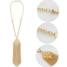 Fashion Women's Gold Plated Tassel Pendant Long Chain Sweater Necklace Jewelery