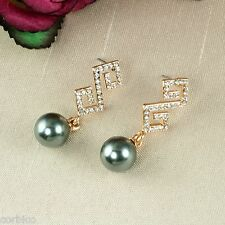 E5 Bridal Prom Rose Gold Plated Crystals Grey Pearl Dangle Stud Earrings Giftbox